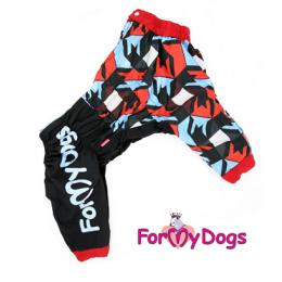 Дождевик Красная Мозаика весенне-осенний непромокаемый для собак