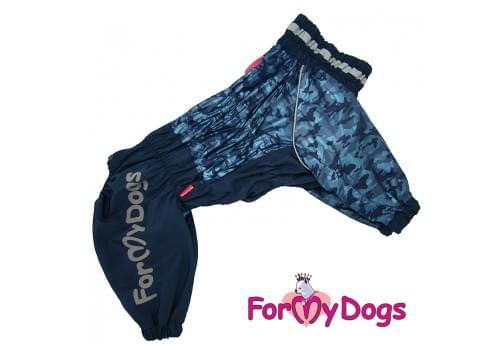 Дождевик синий для мальчиков весенне-осенний непромокаемый для собак породы мопс, французский бульдог, бигль, джек рассел, кокер спаниэль, фокстерьер, цвергшнауцер, шарпей, пудель, амстафф, бультерьер, лабрадор