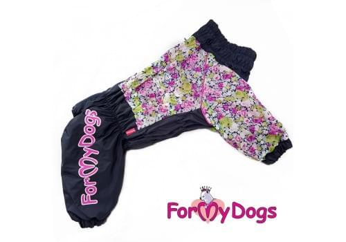 Дождевик Цветы сиреневый для девочек весенне-осенний непромокаемый для собак породы мопс, французский бульдог, бигль, джек рассел, кокер спаниэль, фокстерьер, цвергшнауцер, шарпей, пудель, амстафф, бультерьер, лабрадор