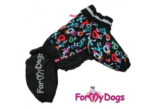 Дождевик черный ABC для мальчиков весенне-осенний непромокаемый для собак породы мопс, французский бульдог, бигль, джек рассел, кокер спаниэль, фокстерьер, цвергшнауцер, шарпей, пудель, амстафф, бультерьер, лабрадор