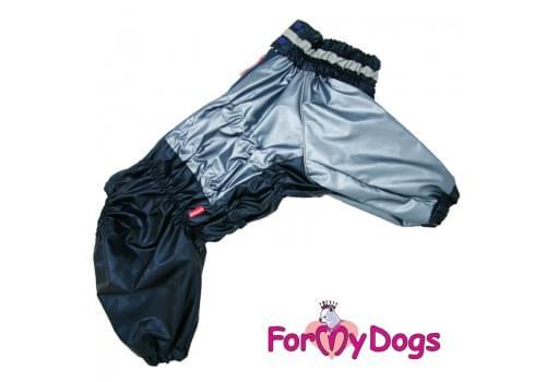 Дождевик синий металлик для мальчиков весенне-осенний непромокаемый для собак породы мопс, французский бульдог, бигль, джек рассел, кокер спаниэль, фокстерьер, цвергшнауцер, шарпей, пудель, амстафф, бультерьер, лабрадор