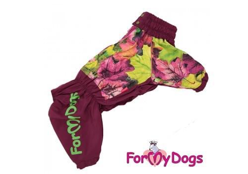 Дождевик Листья бордовый для девочек весенне-осенний непромокаемый для собак породы мопс, французский бульдог, бигль, джек рассел, кокер спаниэль, фокстерьер, цвергшнауцер, шарпей, пудель, амстафф, бультерьер, лабрадор