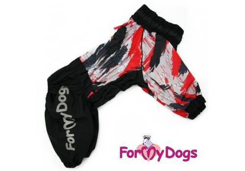 Дождевик черно/красный кам для девочек весенне-осенний непромокаемый для собак породы мопс, французский бульдог, бигль, джек рассел, кокер спаниэль, фокстерьер, цвергшнауцер, шарпей, пудель, амстафф, бультерьер, лабрадор