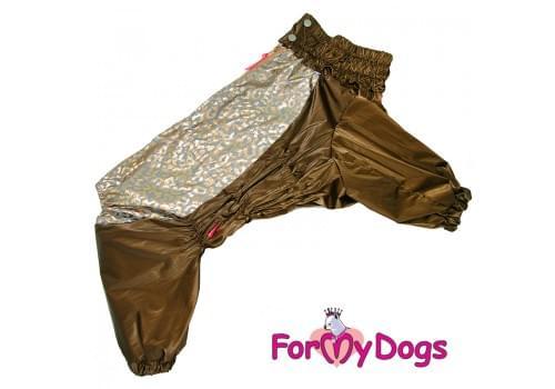 Дождевик коричневый для девочек весенне-осенний непромокаемый для собак породы мопс, французский бульдог, бигль, джек рассел, кокер спаниэль, фокстерьер, цвергшнауцер, шарпей, пудель, амстафф, бультерьер, лабрадор