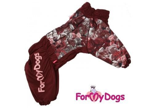 Комбинезон Мишки коричневый мопс для девочек теплый для собак породы мопс, французский бульдог