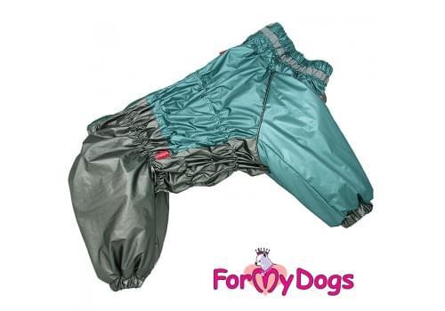 Комбинезон зеленый/графит металлик мопс для мальчиков теплый для собак породы мопс, французский бульдог