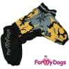 Комбинезон черно/желтый мопс для девочек теплый для собак породы мопс, французский бульдог