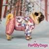 Комбинезон Птички лиловый мопс для девочек теплый для собак породы мопс, французский бульдог