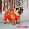 Комбинезон оранжевый мини мопс для девочек теплый для собак породы мопс, французский бульдог