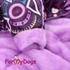 Комбинезон Сиреневые узоры теплый для собак породы йоркширский терьер, мальтезе, чихуахуа, шпиц, ши-тцу, папильон, пекинес, той пудель, пинчер, фокстерьер, цвергшнауцер, кокер спаниель