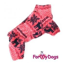 Комбинезон Розовые олени утепленный для собак
