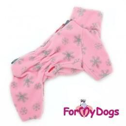 Комбинезон Флисовые снежинки утепленный для собак