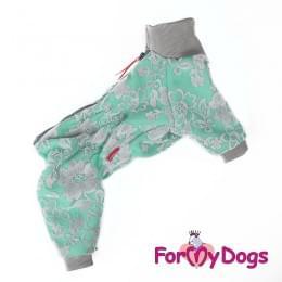 Комбинезон Ментоловые цветы утепленный для собак