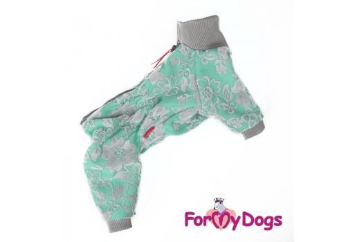 Комбинезон Ментоловые цветы утепленный для собак породы йоркширский терьер, мальтезе, чихуахуа, шпиц, ши-тцу, папильон, пекинес, той пудель, пинчер, фокстерьер, цвергшнауцер, кокер спаниель