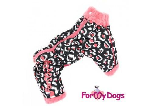 Комбинезон Розовая пантера утепленный для собак породы йоркширский терьер, мальтезе, чихуахуа, шпиц, ши-тцу, папильон, пекинес, той пудель, пинчер, фокстерьер, цвергшнауцер, кокер спаниель