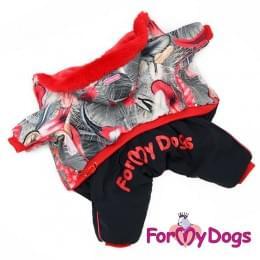 Комбинезон Красные перья зимний для собак