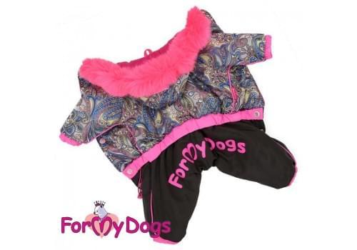 Комбинезон Розовые узоры теплый для собак породы йоркширский терьер, мальтезе, чихуахуа, шпиц, ши-тцу, папильон, пекинес, той пудель, пинчер, фокстерьер, цвергшнауцер, кокер спаниель