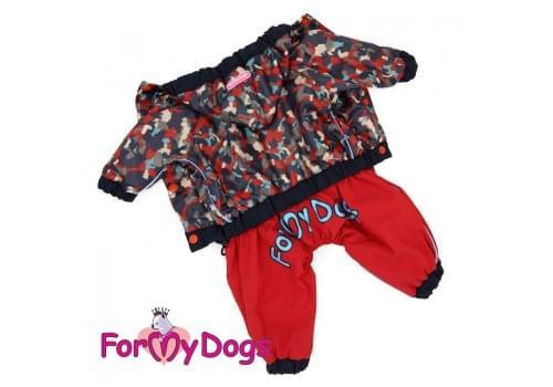 Дождевик Красный камуфляж непромокаемый для собак породы йоркширский терьер, мальтезе, чихуахуа, шпиц, ши-тцу, папильон, пекинес, той пудель, пинчер, фокстерьер, цвергшнауцер, кокер спаниель