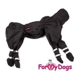 Дождевик Черный с ботиночками непромокаемый для собак