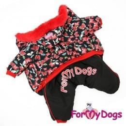 Комбинезон Красные бабочки зимний для собак