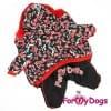 Комбинезон Красные бабочки зимний для собак породы йоркширский терьер, мальтезе, чихуахуа, шпиц, ши-тцу, папильон, пекинес, той пудель, пинчер, фокстерьер, цвергшнауцер, кокер спаниель