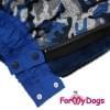 Комбинезон Синий камуфляж утепленный для собак породы мопс, французский бульдог, бигль, вест хайленд терьер, джек рассел, кокер спаниэль, фокстерьер, цвергшнауцер, шарпей, шотландский терьер, пудель, амстафф, бультерьер, лабрадор, ретривер
