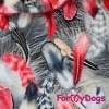 Куртка Красные перышки зимняя для собак породы мопс, французский бульдог, бигль, вест хайленд терьер, джек рассел, кокер спаниэль, фокстерьер, цвергшнауцер, шарпей, шотландский терьер, пудель, амстафф, бультерьер, лабрадор, ретривер