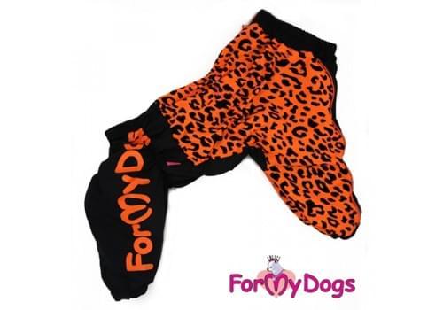 Комбинезон Оранжевый леопард утепленный для собак породы мопс, французский бульдог, бигль, вест хайленд терьер, джек рассел, кокер спаниэль, фокстерьер, цвергшнауцер, шарпей, шотландский терьер, пудель, амстафф, бультерьер, лабрадор, ретривер