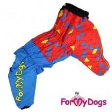 Комбинезон Красный ромбик зимний на синтепоне для собак