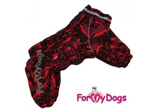 Комбинезон красный/черный для девочек теплый для собак породы мопс, французский бульдог, бигль, вест хайленд терьер, джек рассел, кокер спаниэль, фокстерьер, цвергшнауцер, шарпей, амстафф, бультерьер, лабрадор, ретривер