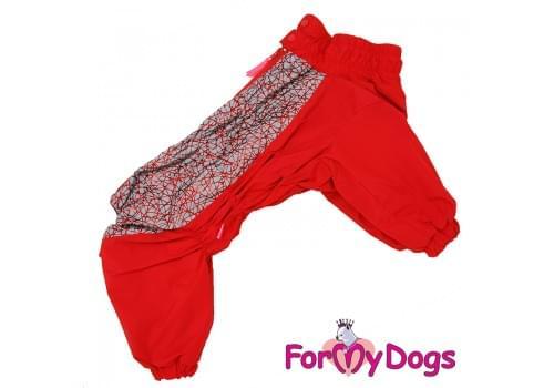 Комбинезон красный для девочек теплый для собак породы мопс, французский бульдог, бигль, вест хайленд терьер, джек рассел, кокер спаниэль, фокстерьер, цвергшнауцер, шарпей, амстафф, бультерьер, лабрадор, ретривер