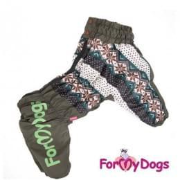 Комбинезон Узоры хаки утепленный для собак