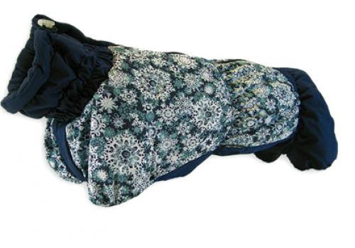Комбинезон Снежинки зимний на синтепоне и флисе для собак породы такса и вельш корги
