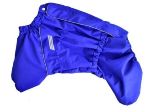 Дождевик Синий ДжекиДог мембранный на гладком подкладе для собак породы мопс, французский бульдог, английский бульдог, американский булли