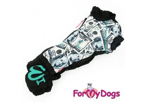 Комбинезон Доллары теплый для собак породы такса