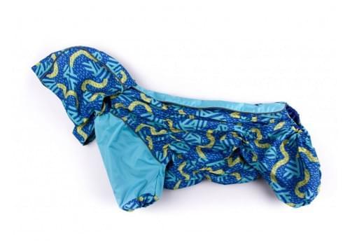 Дождевик Капелька осенний с капюшоном для собак породы мопс, французский бульдог, бигль, вест хайленд терьер, джек рассел, кокер спаниэль, фокстерьер, цвергшнауцер, шотландский терьер