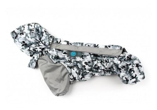 Дождевик GreyCamouflage осенний с капюшоном для собак породы мопс, французский бульдог, бигль, вест хайленд терьер, джек рассел, кокер спаниэль, фокстерьер, цвергшнауцер, шотландский терьер