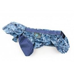 Дождевик Синий Камуфляж осенний с капюшоном для собак