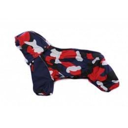 Дождевик красный с синим камуфляж с капюшоном