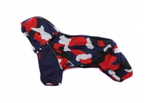 Дождевик красный с синем камуфляж с капюшоном для собак породы мопс, французский бульдог, бигль, вест хайленд терьер, джек рассел, кокер спаниэль, фокстерьер, цвергшнауцер, шотландский терьер