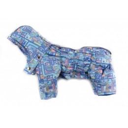 Комбинезон Дутик Синие Домики зимний на синтепоне с капюшоном для собак
