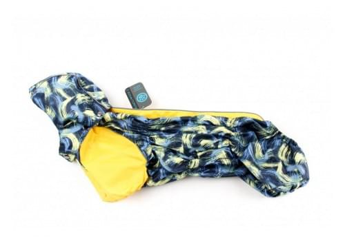 Дождевик Краски непромокаемый с капюшоном для собак породы такса и вельш корги