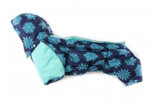 Комбинезон Голубые Снежинки зимний на синтепоне и флисе с капюшоном для собак породы такса и вельш корги