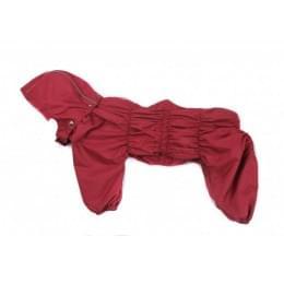 Дождевик Красный осенний серый с капюшоном для собак