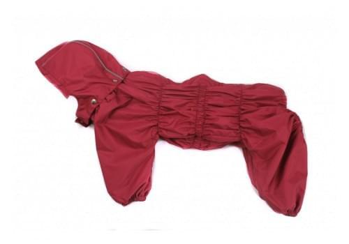 Дождевик Красный осенний серый с капюшоном для собак породы бигль, шарпей, чау-чау, кокер спаниель, басенджи, фокстерьер
