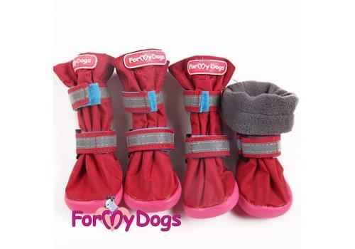 Ботиночки Бордовые Флис  для собак средних и больших пород