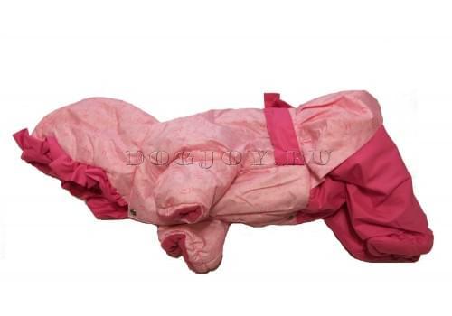 Комбинезон Pinkbow зимний на синтепоне и флисе с капюшоном для собак породы мопс, французский бульдог, бигль, вест хайленд терьер, джек рассел, кокер спаниэль, фокстерьер, цвергшнауцер, шарпей, шотландский терьер девочка