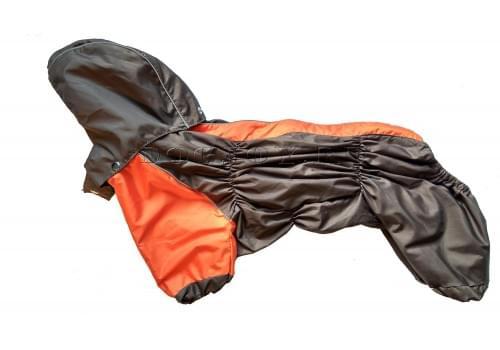 Дождевик Orange непромокаемый с капюшоном для собак породы мопс, французский бульдог, бигль, вест хайленд терьер, джек рассел, кокер спаниэль, фокстерьер, цвергшнауцер, шарпей, шотландский терьер