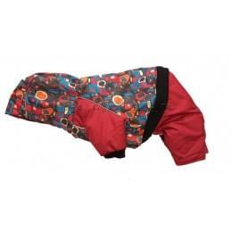 Комбинезон Colorful Circles  зимний на синтепоне и флисе с капюшоном для собак