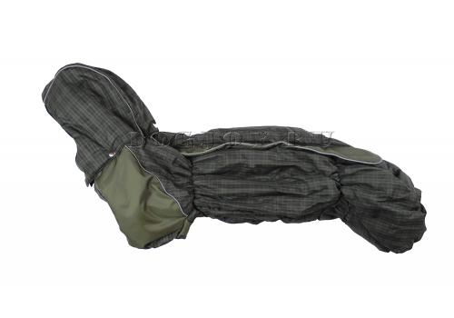 Комбинезон Зеленая палитра зимний на синтепоне и флисе с капюшоном для собак породы такса и вельш корги